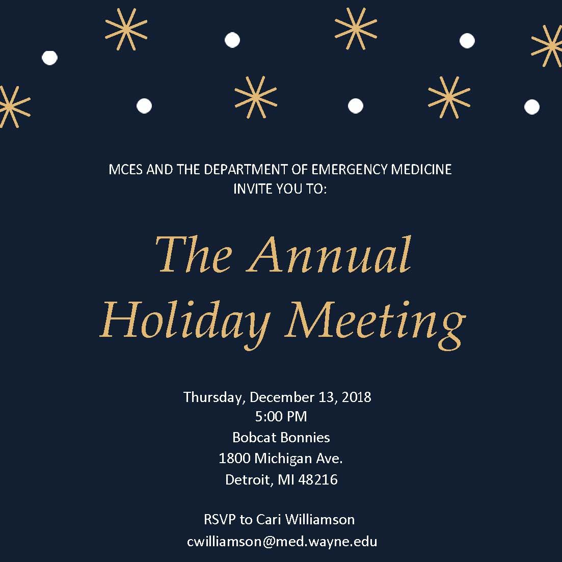Wayne State Calendar.Annual Department Of Emergency Medicine Meeting Main Events